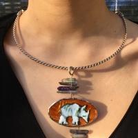 Rhinoceros Choker Copper  Enamel Silver