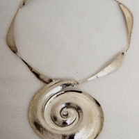 Hurricane Necklace, Silver, white topaz