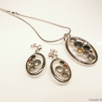 Palette Necklace and Earrings, Silver, cold enamel