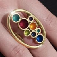 Palette Ring,18 ct gold, enamel