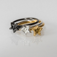 The World on the Moon Rings Silver and plated in yellow gold and black ruthinium (2)