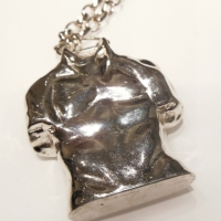 Torso Necklace, Bronze, silver plated